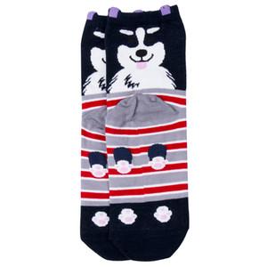 Média Cotton 1pair Unisex 3D Fashion Printed animal Socks macio Casual bonitos do cão Low Cut meias 4 cores