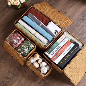 Wholesale Straw-woven Rattan Storage Basket Makeup Organizer Multipurpose Container with Lid Sundries Storage Box Jewelry Box #486