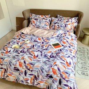 Modern leaf bedding set,full queen king 60s cotton vintage design rustic double home textile bed sheet pillow case duvet cover