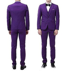 Customize Purple Men 3 Piece Suit Wedding Tuxedos Groom Tuxedos With Notch Lapel One Button Center Vent Men Blazer