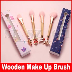 Sailor Moon Pinceles de maquillaje Mango de madera Pincel de maquillaje Kit de pinceles cosméticos con caja