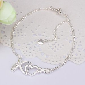 New Arrival!!Wholesale Sterling 925 Silver Anklets,925 Silver Fashion Jewelry,Fashion Zircon heart X Charm Anklet Free Shipping.02