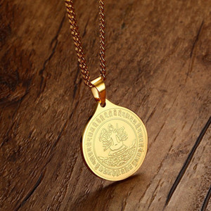 Gold Figure of Buddha Pendant Chain Necklace Fashion Jewelry Gift for Men Women