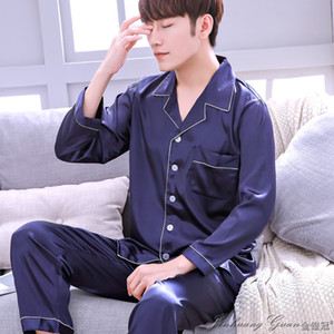 2020 Pajama Men Spring Autumn-sleed Ice Long-silk Nightly Suits Male Youth Thin Large Sleep Size