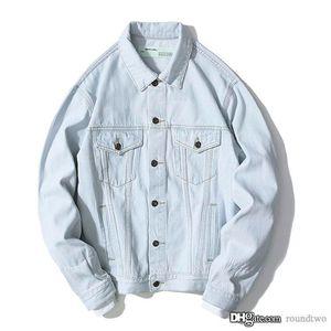 2020 off Monet della pittura a olio Fiamma Freccia Distruggi Distressed Denim Giacche Designer indumento bianco di lavaggio Giacca di jeans da uomo Cappotti casual