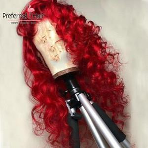 Perruque frontale de la dentelle frisée de 13x4 13x4 rouges