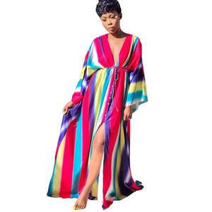 Arc-en-Rayé Summer Beach Robe Femmes col en V profond à long Falre manches Bohême robe longue Vintage Front High Robe longue fendue