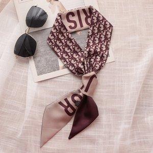 Шелковые шарфы корейский стиль узкий дизайнерский шарф женский маленький шарф лента для волос шикарный шарф все-Матч длинный головной платок украшения ретро