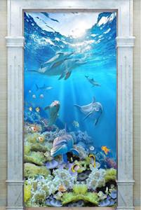 3d wallpaper custom photo hd الدلفين المرجانية تحت الماء العالم 3d مدخل الجدار muals ورق الحائط للجدران 3 د