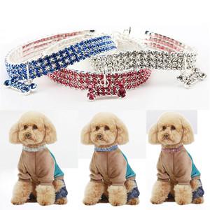 Ошейники для собак Кристалл горный хрусталь Pet Dog Cat воротник щенок ожерелье ошейники поводки ювелирные изделия с бриллиантами Рождественский подарок DHL WX9-1755