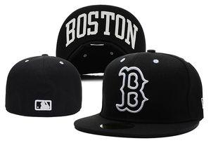 Top Design Nouveau Boston Rouge En Plein Couleur Noir Chapeaux Plats Ajustés SOX brodé Capsules Fermées Chapeu Hip Hop Design