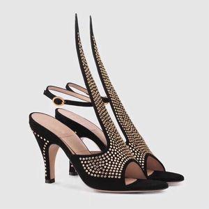Hot Sale-femmes chaussures Escarpins Designer Suede Sandales avec cristaux Stiletto talon Taille confortable 35-40