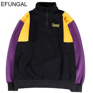 Männer Hip Hop Street Vintage-Hoodie Half-Zip Fleece Cotton Herbst-Winter-Pullover Street Dicker Pullover Sweatshirts