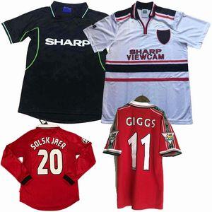 Manchester Retro 1998 1999 2000 calcio maglie casa GIGGS Solskjær SCHOLES lontano unito Retro lungo 98/99/00 calcio camicia a maniche