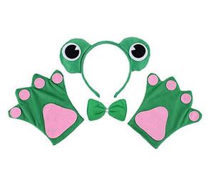 Cuento de hadas Rana Diadema Pajarita Guantes Conjunto Niños Diadema Animal Patas Corbata Fiesta Cosplay Disfraz de Halloween Vestido de lujo Accesorios Verde favor