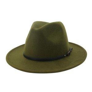 Özel Kemer Kadınlar Vintage fötr ile Şapka Erkekler Fedora Şapkalar Yün Fedora Caz Hat Chapeau Femme feutre # p4 Isınma Caps Keçe