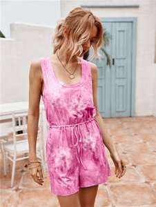 Summer shorts jumpsuit tie dye sleeveless romper tracksuit Female one piece sportswear beachear fashion trend clothing overall pants LY608