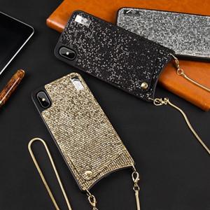 Bling crossbody telefone carteira saco para cartões de crédito case capa com alça de cadeia longa para iphone xr xs max x 6 s 6 7 8 além de cobertura