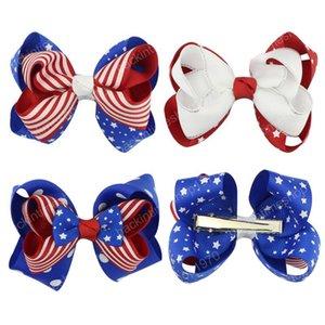 4 de clipe Meninas Julho arcos de cabelo acessórios para o cabelo Bandeira fitas de cabelo 3.5 polegadas Dia da Independência Barrettes American National