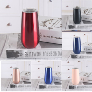 6oz 304 Stainless Steel Wine Glasses Red Wine Cups Vacuum Insulated Cups 8 Colors Tumbler Outdoors Travel Mugs With Lids LD200110 10pcs