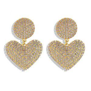Pendant stud earrings for woman girls fashion luxury designer super glittering full diamonds cute lovely heart