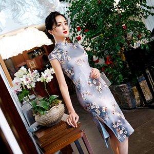 flora elemento stampato in seta stile cinese cheogsam retrò femminilità balza nappa donna di estate coprono il trasporto libero