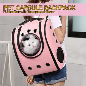 Cuero portable del gato del perro del animal doméstico del Cápsula espacial Mochila burbuja Carrier bolsa de viaje / Mochila al aire libre / transpirable