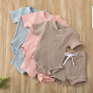 Free Shipping Kids Baby Girl Boy Solid Color Jumpsuit Romper Bodysuit Top+Knitted Drawstring Elastic Shorts Outfit Set 0-24M