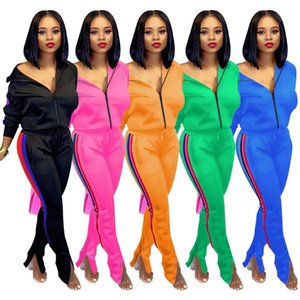 Womens Tracksuits V Neck Zipper Women Two Piece Sets Spring Autumn Skinny Casual 2pcs Striped Solid Color