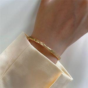 POFUNUO real prata esterlina 925 Irregular pulseira feminina minimalista Individualidade Ouro Bangle para mulheres Fine Jewelry