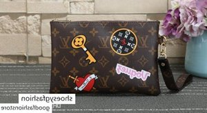 M63447 Long Vitton Women Strap Bring City Pouch Clutch Belt Printed embroidery patch Exotics Clutches bag