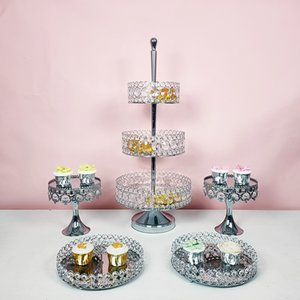 Silver Metal Multi-layer Cake Stand Geometric Tray Cake Dessert Display Stand Home Decoration Decorating Party Suppliers