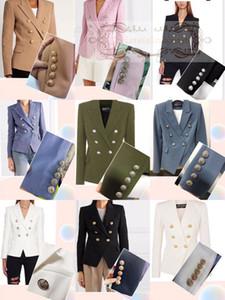 Balmain Frühjahr Herbst Winter High-End-angepasste Version von BALMAIN dünnem dünner Klage zweireihig Silber Schnalle kleinen Anzug Jackenfrau