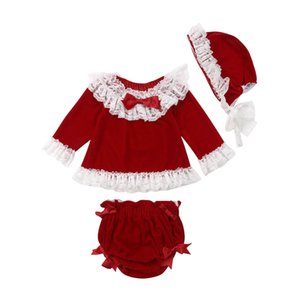 Baby Clothes Toddler Kids Baby Girls Lace Velvet Tops Dress Pants Shorts Hat 3pcs Outfit Set Clothes
