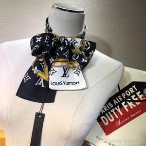 Styliste Marque Modèle Petit Imprimer Foulard en soie pour les femmes Bandeau rayé Sac poignée Echarpes ruban