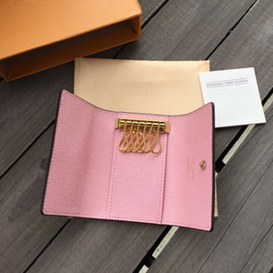 LB03 Free shipping High quality new women men classic 6 key holder cover keychain men with box.dust bag card key ring 7 colors