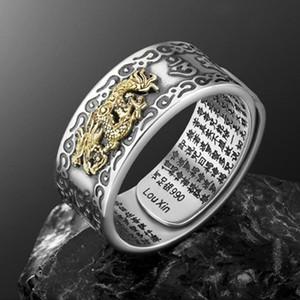 Encantos PIXIU Anillo Feng Shui amuleto Riqueza Suerte abierta Anillo ajustable budista para hombres, mujeres regalo