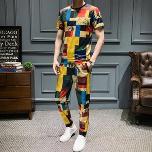 Creative Lattice Impressão Homens Causal T Shirt 2 pcs Tracksuit Summer Sportswear Calças Jogger Suit Slim Fit Conjunto Harem
