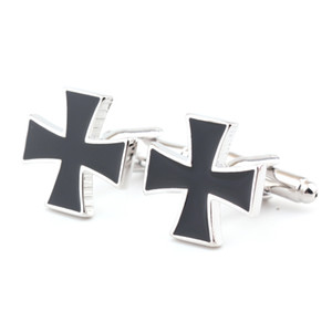 Black Cross Cufflinks Mens Shirt French Sleeve Cuff Links Accessories for Men Wedding Business Gift