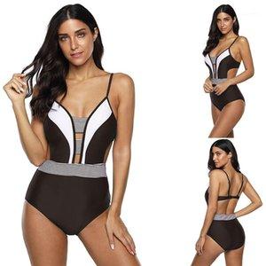 Sommer Bikini Mode Frauen Badebekleidung Striped Print Designer Frauen Badeanzüge Sexy Slim One Piece Shorts Casual