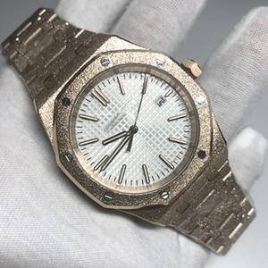 Novos Diamantes chegada automática real preto fosco Dial Carvalho mens ouro branco 18K relógio de prata-tom mãos fixo moldura tamanho 42 milímetros deslizar suave