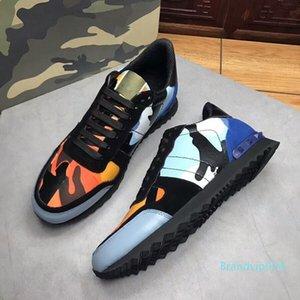 Mens Fashion Sneakers Camo Tarnung Rockrunner Trainer Spitze Leder Freizeitschuhe Luxuxmann Schuh Top Designer c22 02