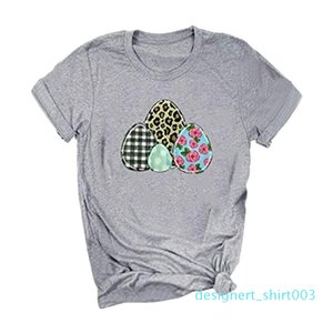 2020 Feitong Women T-shirt Happy Easter Letter Eggs Leopard Print O-Neck Short Sleeve T-Shirt Tee Ropa Mujer d03