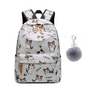 School Bags for Teenage Girls Schoolbag Children Backpacks Cute Animal Print Canvas School Backpack Kids Cat Bag Pack
