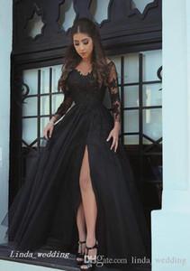 2019 현대 긴 소매 이브닝 드레스 겸손한 것 - 높은 분할 쉬폰 라인 검은 공식적인 파티 가운 사용자 정의 만든 플러스 크기