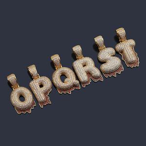 HipHop Personalizado Letra inicial Pingente CZ Iced Out Baguette Letters cadeia colar de pingente