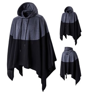 Mens Hoodies Street Cape Kapu Schwarz Grau Stitching Farbe Large Size Fashion Hoodie lose Sweatshirt M-5XL