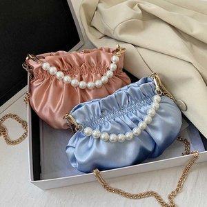 Pearl Bag for Women Soft Leather Madame Bag Single Shoulder Slant Handbag Day Clutches Bags Messenger
