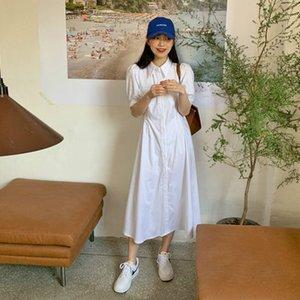Kadınlar Yaz Beyaz Uzun Gömlek Elbise Şık Puff Kol Katı Renk Tek Breasted Midi Sundress Cep