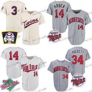 Minnesota MN 1969 3 Harmon Killebrew 1987 28 Bert Blyleven 1991 Kent Hrbek Kirby Puckett Retro tiro indietro Baseball Maglie